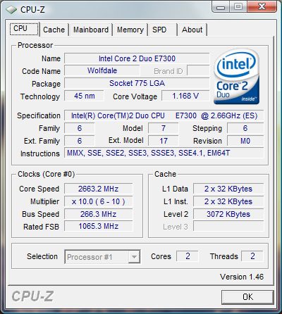 cpuz Review Intel Core 2 Duo E7300   E7200