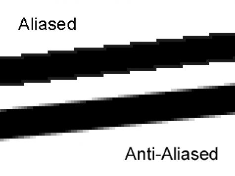 Representacion de anti aliasing en una linea negra.