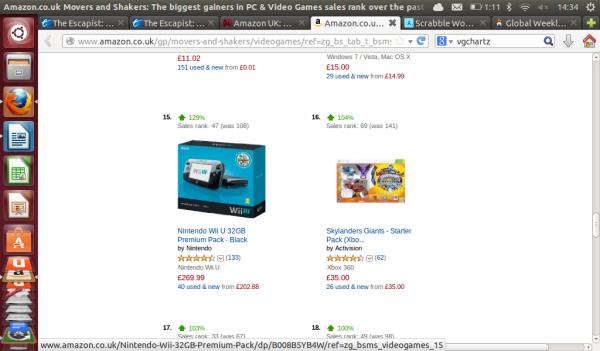 Imagen del punto más alto de ranking al que llegó la Wii U en Amazon UK